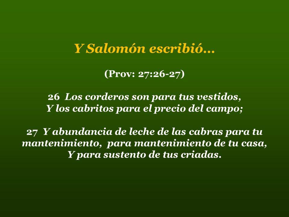 Y Salomón escribió… (Prov: 27:26-27)