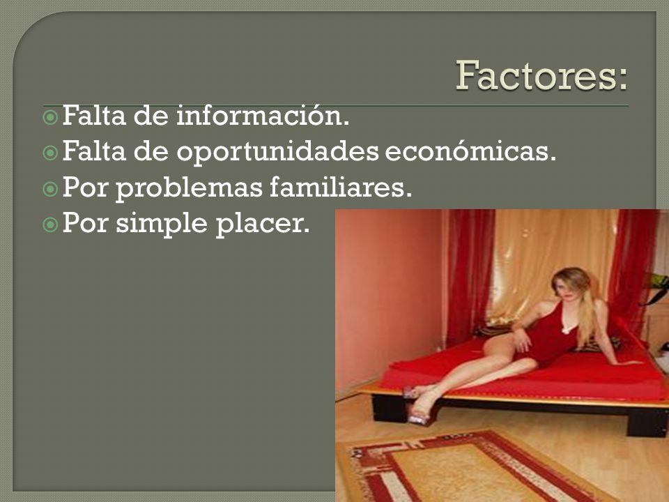 Factores: Falta de información. Falta de oportunidades económicas.