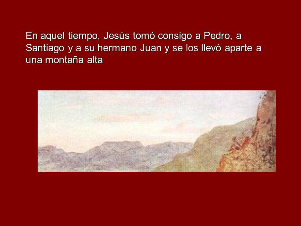 En aquel tiempo, Jesús tomó consigo a Pedro, a Santiago y a su hermano Juan y se los llevó aparte a una montaña alta