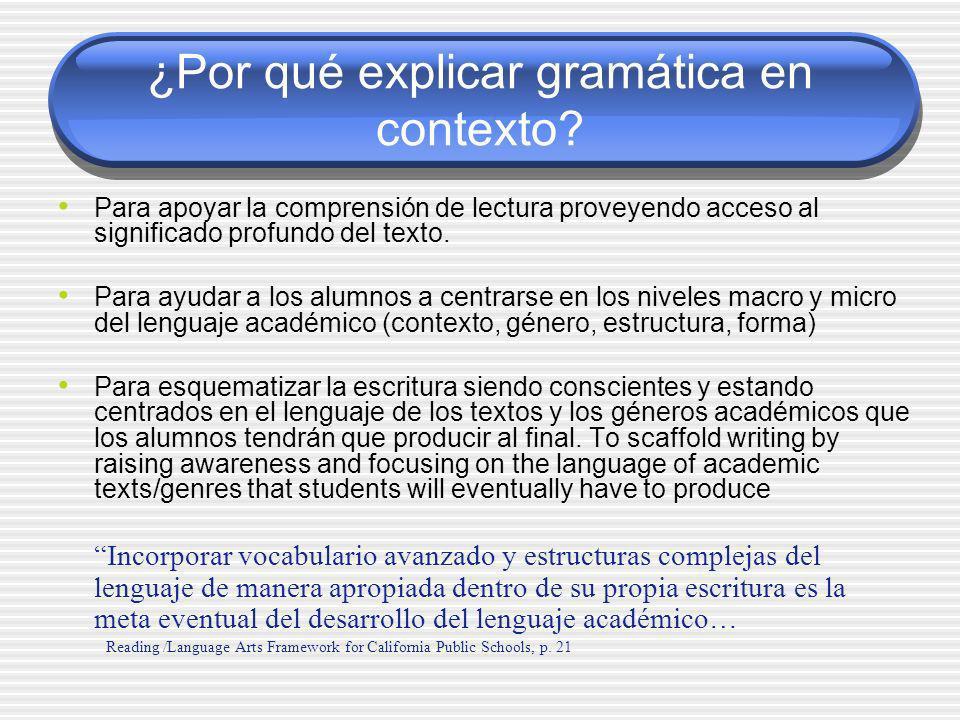 ¿Por qué explicar gramática en contexto
