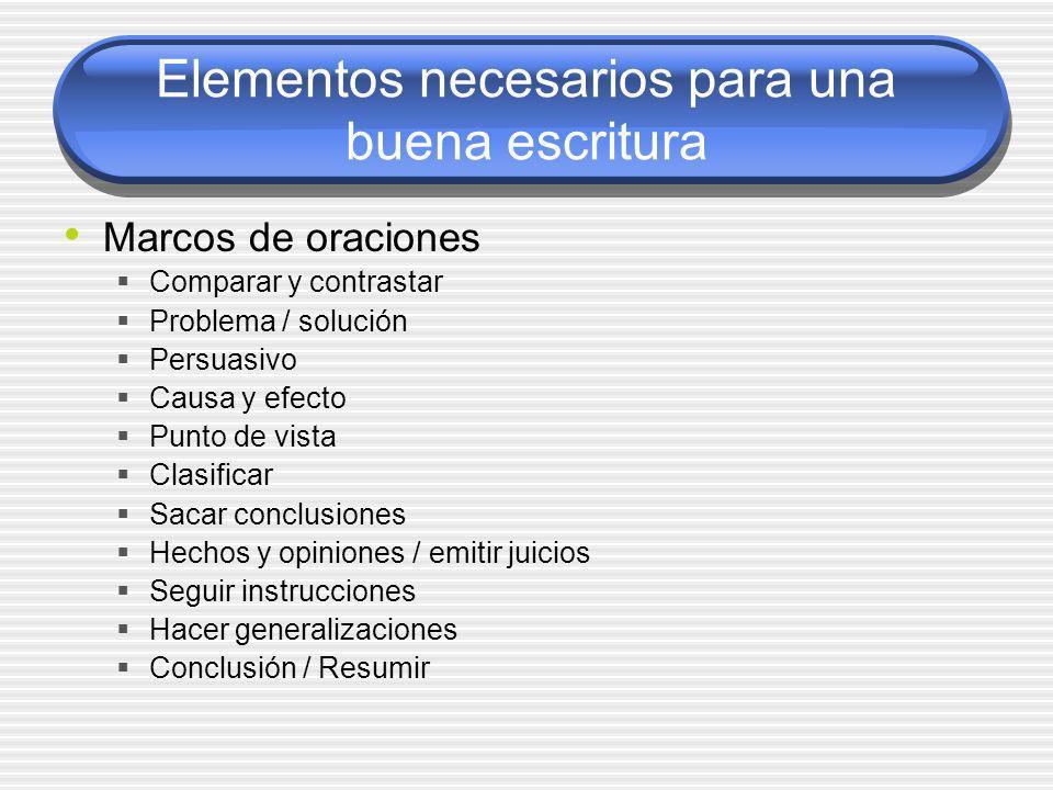 Elementos necesarios para una buena escritura
