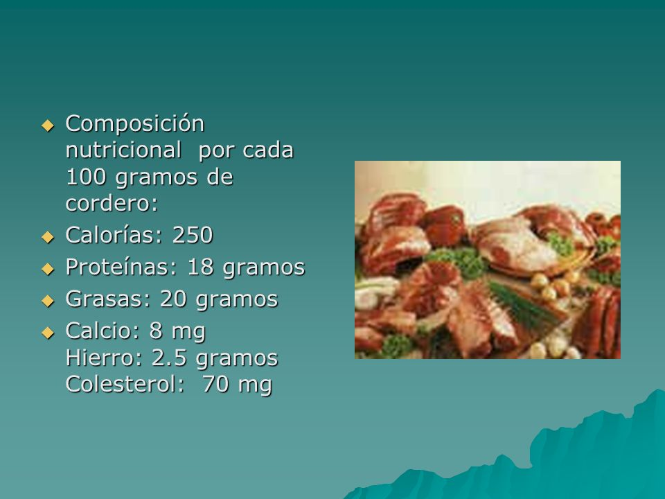 Composición nutricional por cada 100 gramos de cordero: