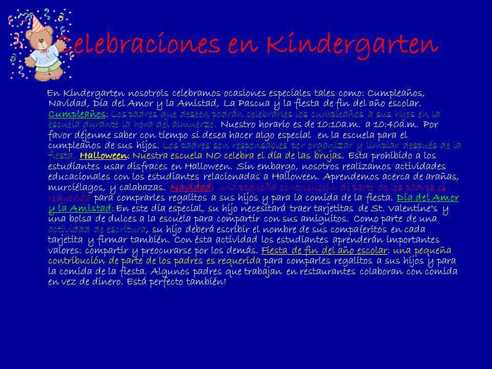 Celebraciones en Kindergarten