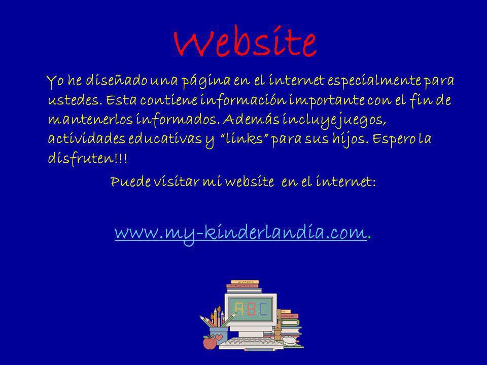 Puede visitar mi website en el internet: