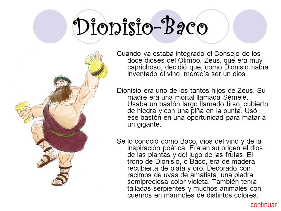Dionisio-Baco continuar