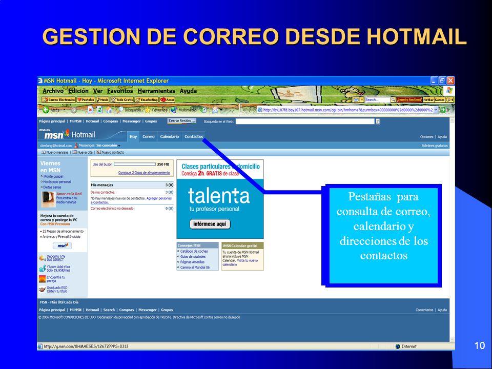 GESTION DE CORREO DESDE HOTMAIL