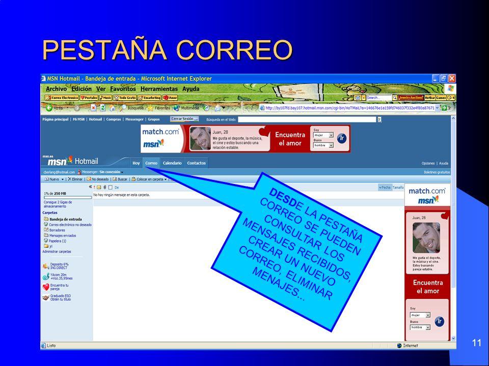 PESTAÑA CORREODESDE LA PESTAÑA CORREO SE PUEDEN CONSULTAR LOS MENSAJES RECIBIDOS, CREAR UN NUEVO CORREO, ELIMINAR MENAJES...
