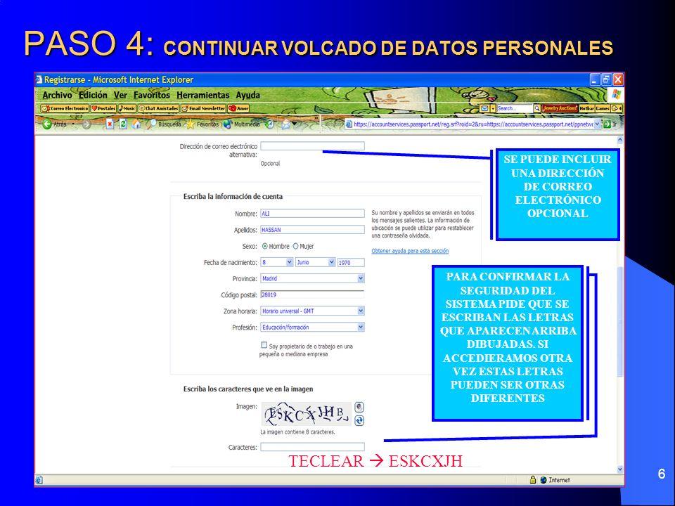 PASO 4: CONTINUAR VOLCADO DE DATOS PERSONALES