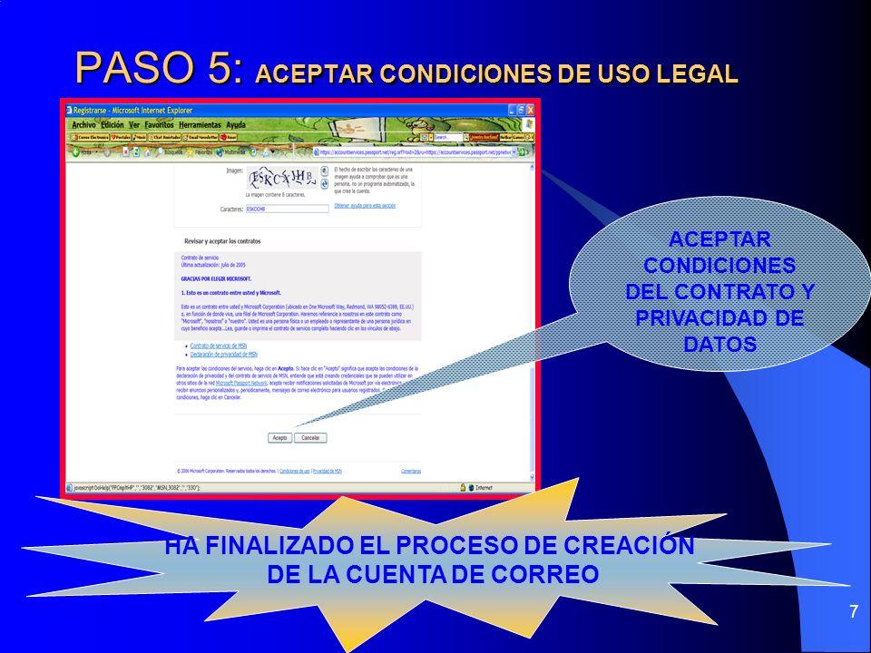 PASO 5: ACEPTAR CONDICIONES DE USO LEGAL