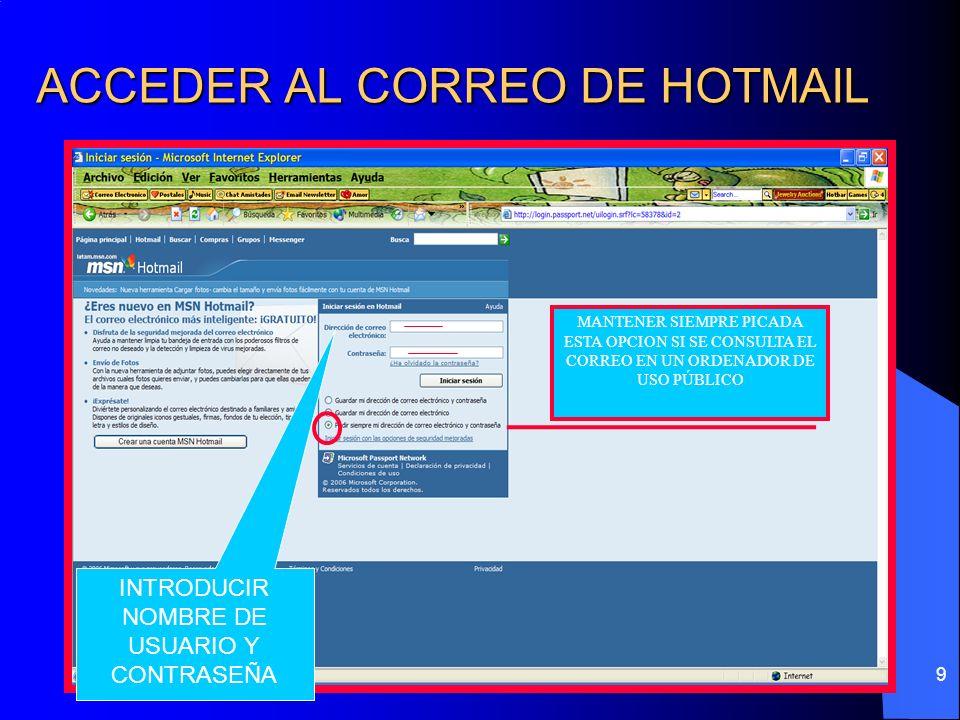 ACCEDER AL CORREO DE HOTMAIL