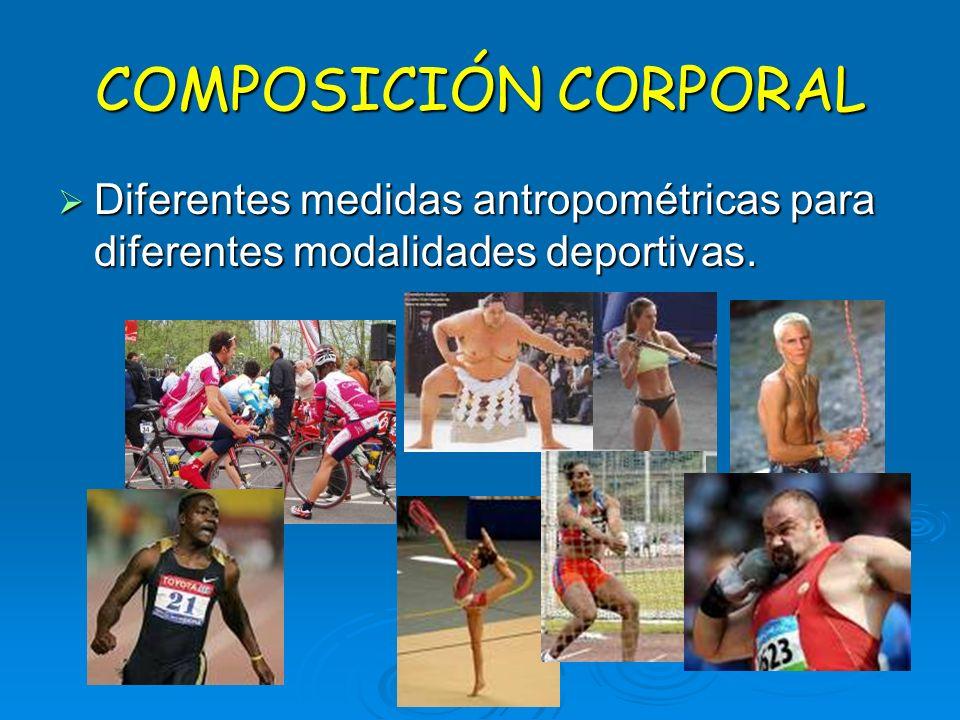 COMPOSICIÓN CORPORAL Diferentes medidas antropométricas para diferentes modalidades deportivas.