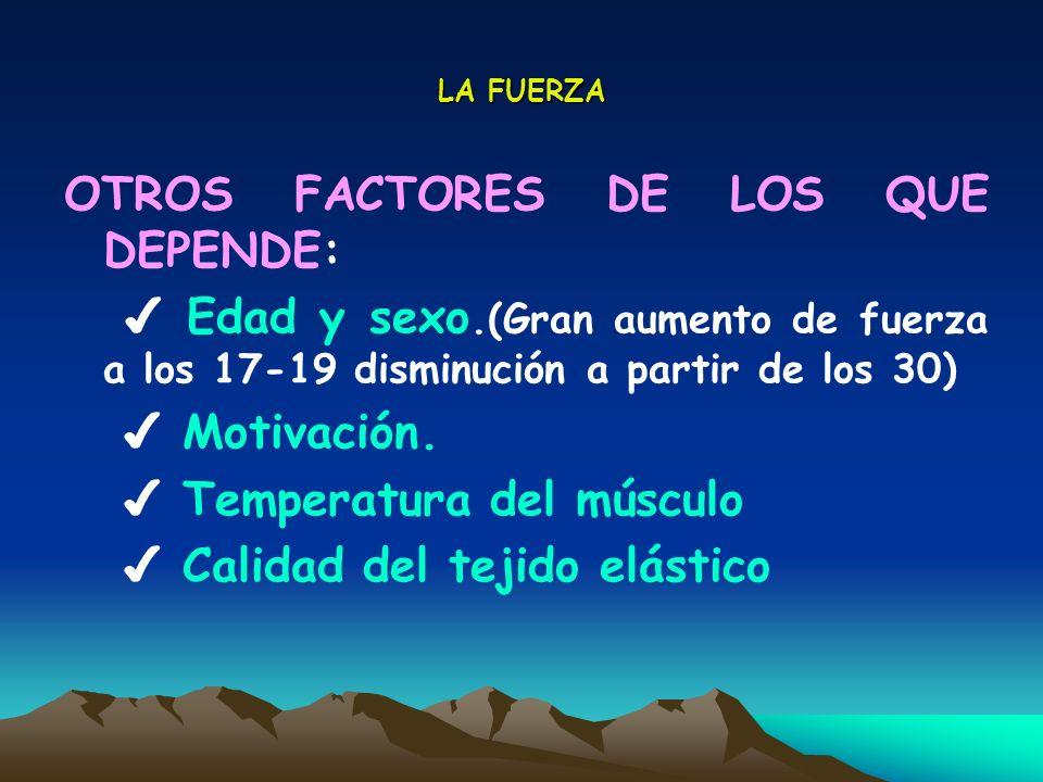 OTROS FACTORES DE LOS QUE DEPENDE: