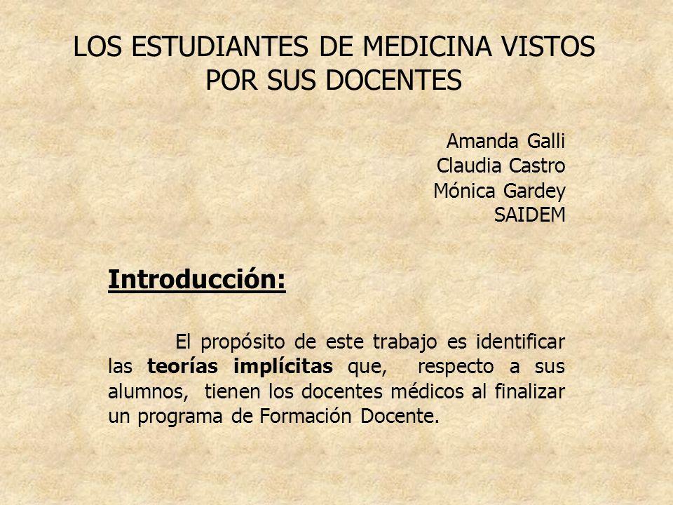 LOS ESTUDIANTES DE MEDICINA VISTOS POR SUS DOCENTES