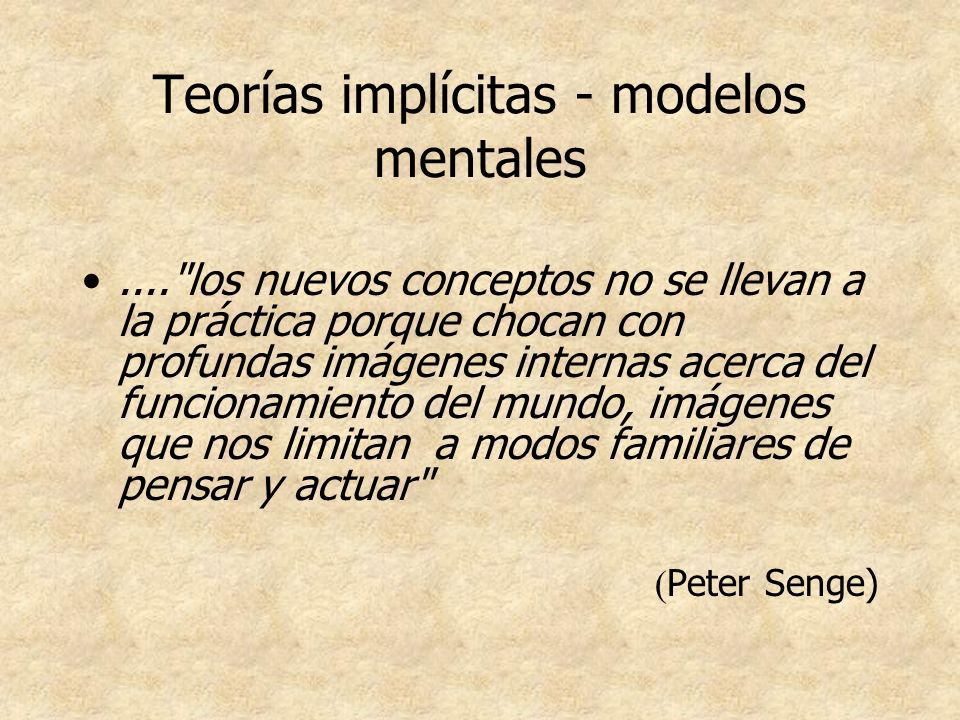 Teorías implícitas - modelos mentales