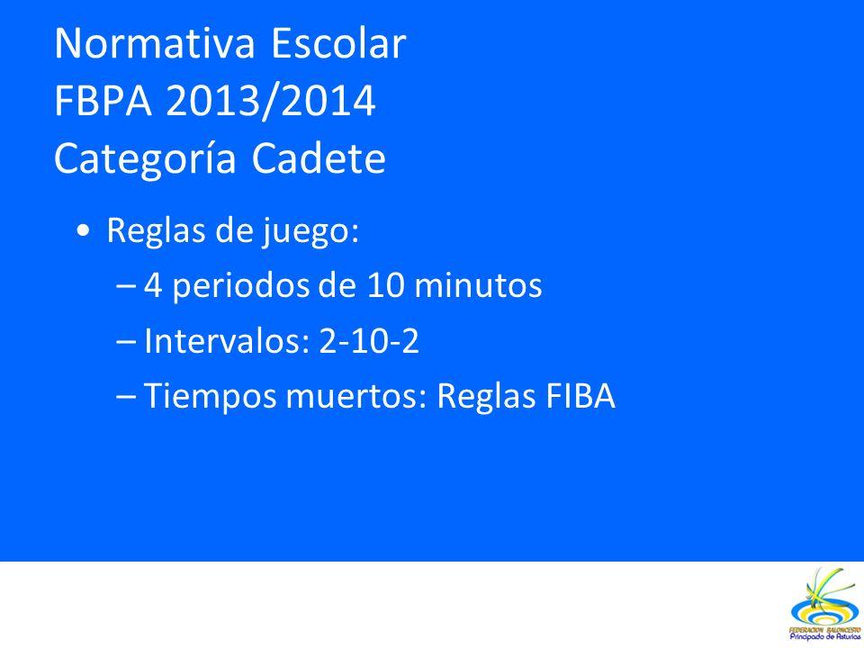 Normativa Escolar FBPA 2013/2014 Categoría Cadete