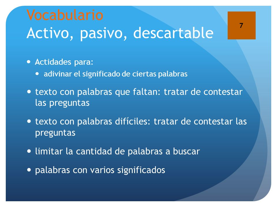 Vocabulario Activo, pasivo, descartable