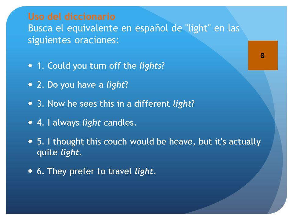 Uso del diccionario Busca el equivalente en español de light en las siguientes oraciones:
