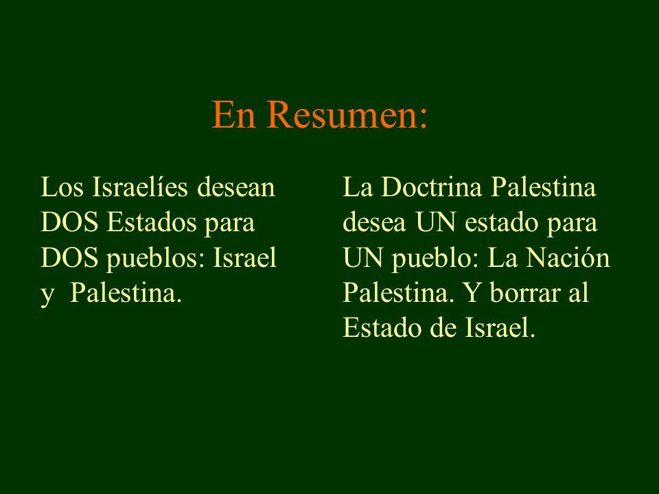 Los Israelíes desean DOS Estados para DOS pueblos: Israel y Palestina.