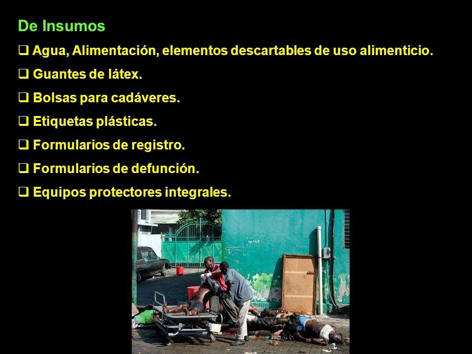 De Insumos Agua, Alimentación, elementos descartables de uso alimenticio. Guantes de látex. Bolsas para cadáveres.