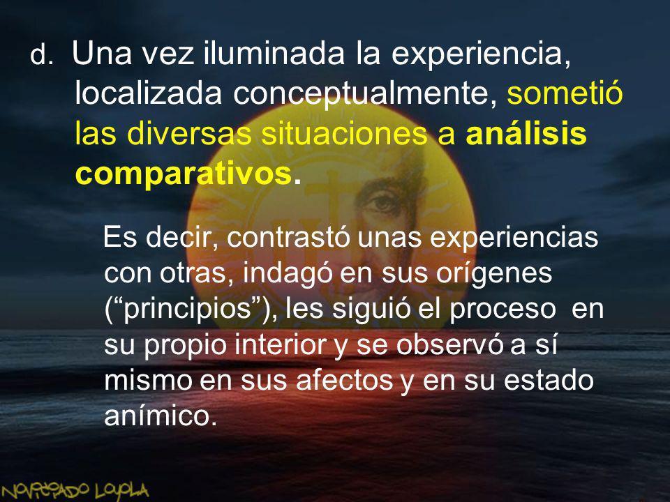 d. Una vez iluminada la experiencia, localizada conceptualmente, sometió las diversas situaciones a análisis comparativos.