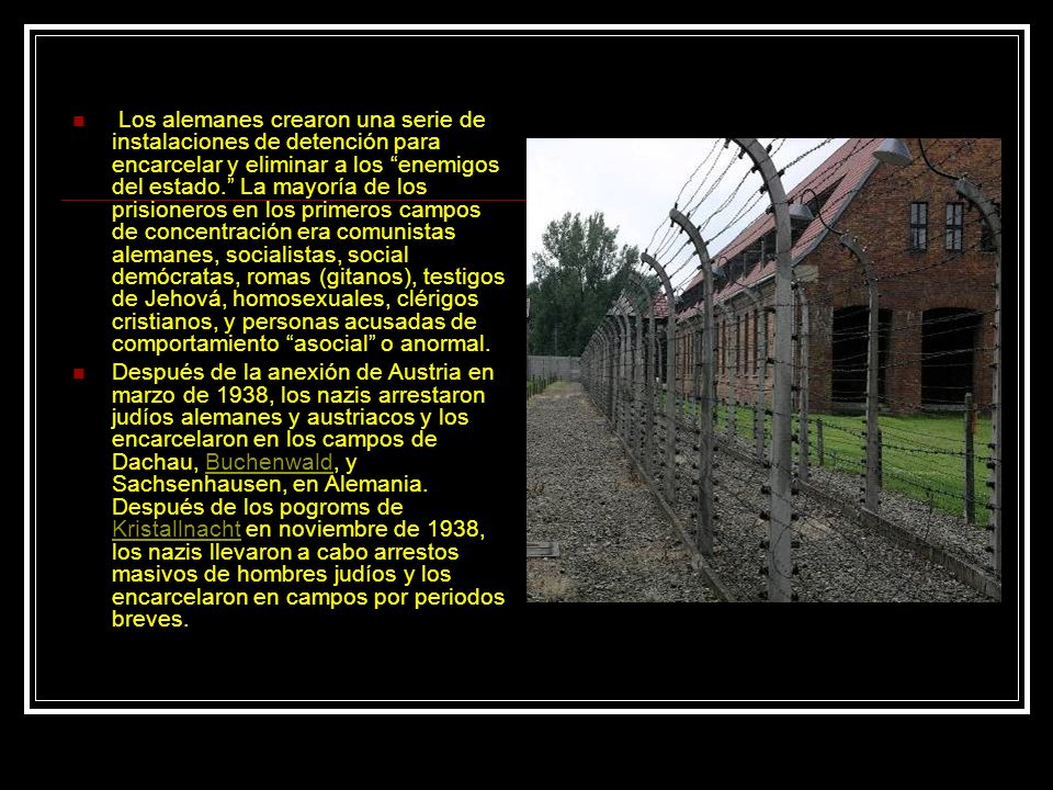 Los alemanes crearon una serie de instalaciones de detención para encarcelar y eliminar a los enemigos del estado. La mayoría de los prisioneros en los primeros campos de concentración era comunistas alemanes, socialistas, social demócratas, romas (gitanos), testigos de Jehová, homosexuales, clérigos cristianos, y personas acusadas de comportamiento asocial o anormal.