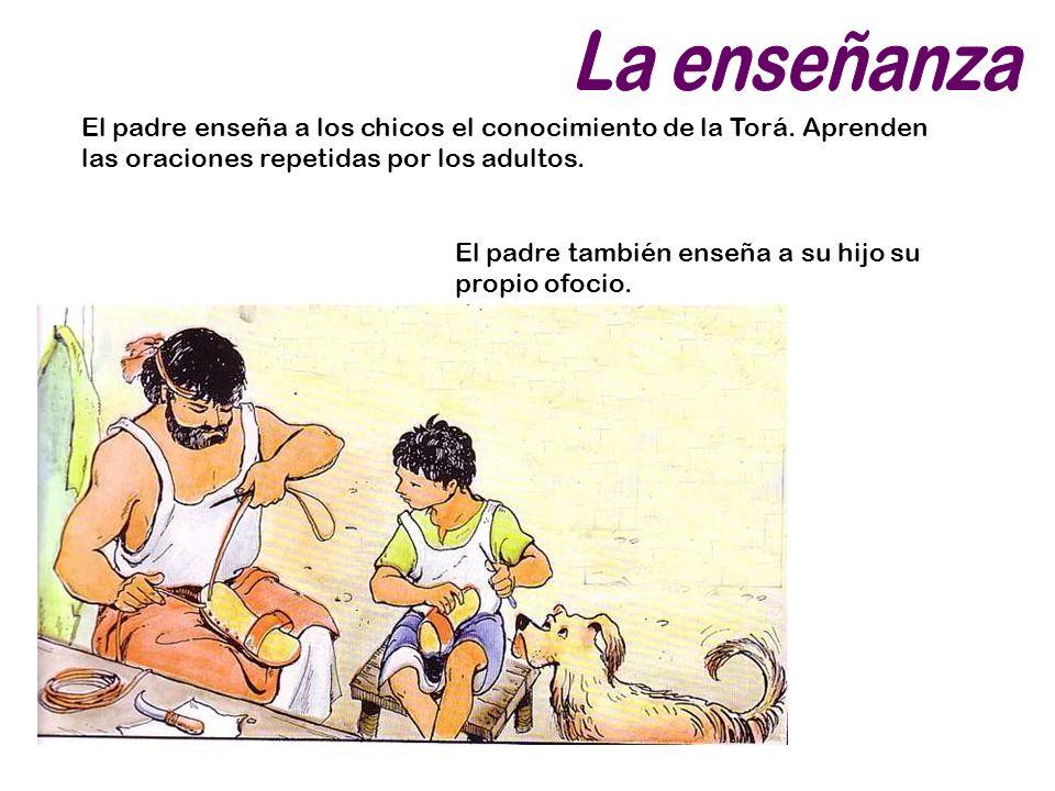 La enseñanza El padre enseña a los chicos el conocimiento de la Torá. Aprenden las oraciones repetidas por los adultos.