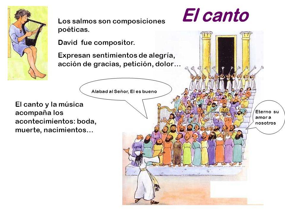 El canto Los salmos son composiciones poéticas. David fue compositor.
