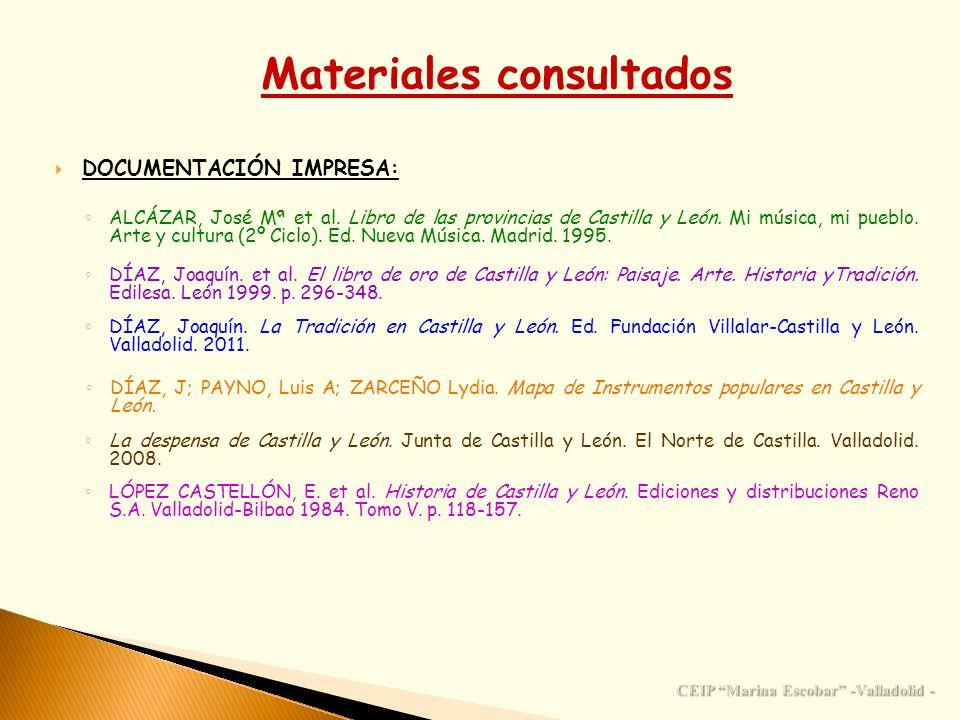Materiales consultados CEIP Marina Escobar -Valladolid -