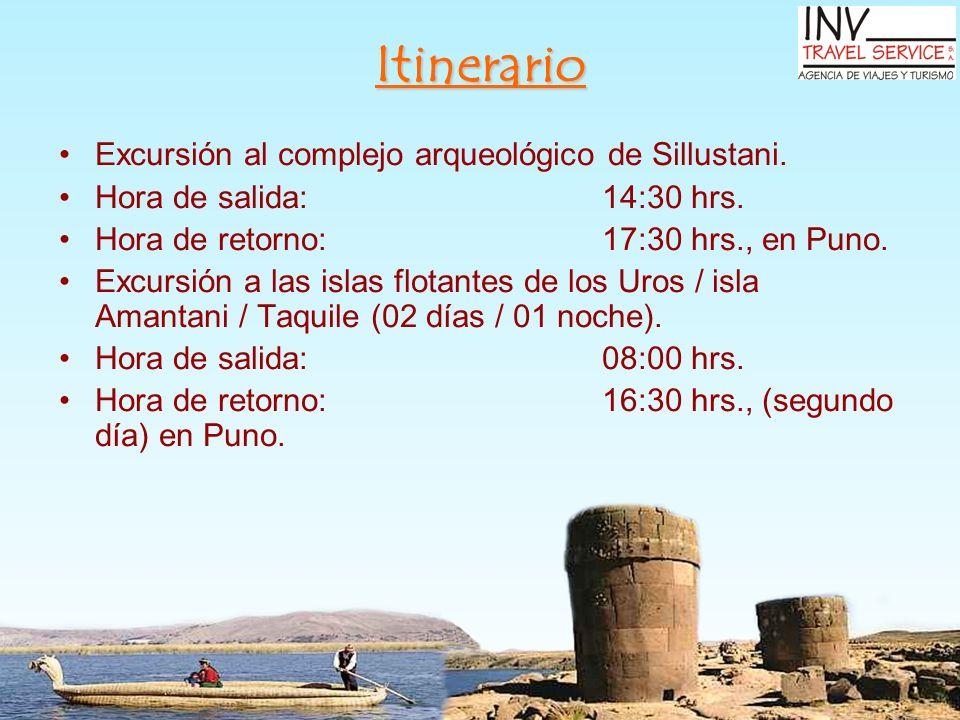 Itinerario Excursión al complejo arqueológico de Sillustani.