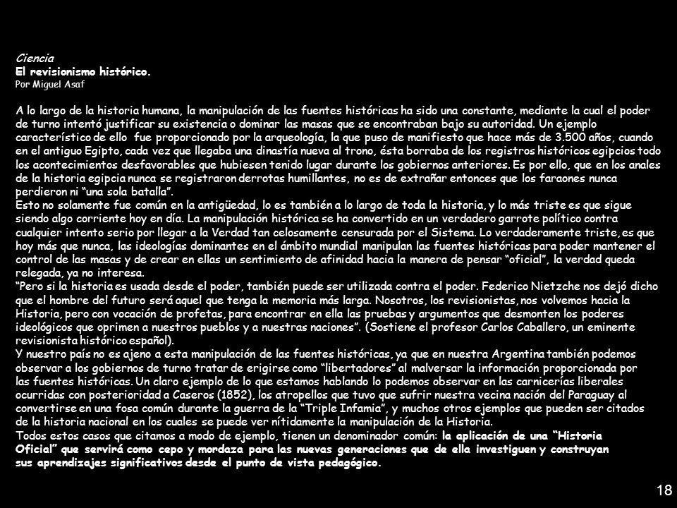 18 Ciencia El revisionismo histórico.