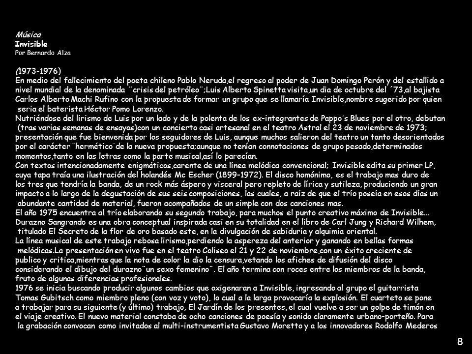 1 Música. Invisible. Por Bernardo Alza. (1973-1976)