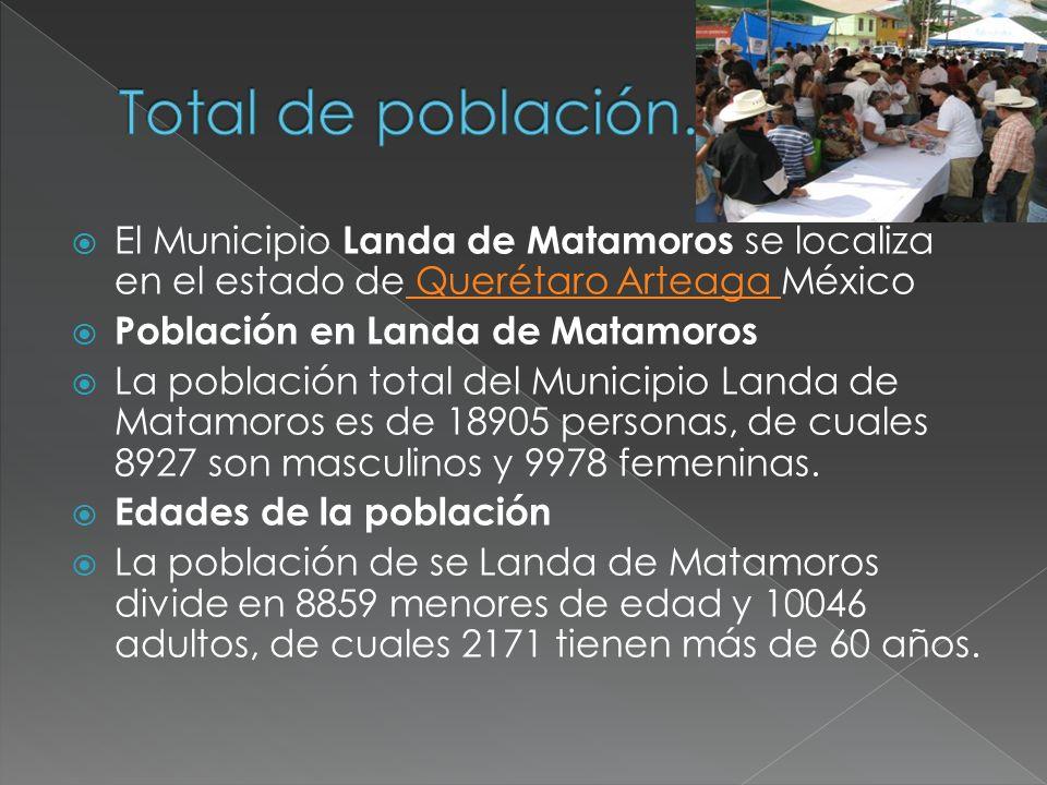 Total de población. El Municipio Landa de Matamoros se localiza en el estado de Querétaro Arteaga México.