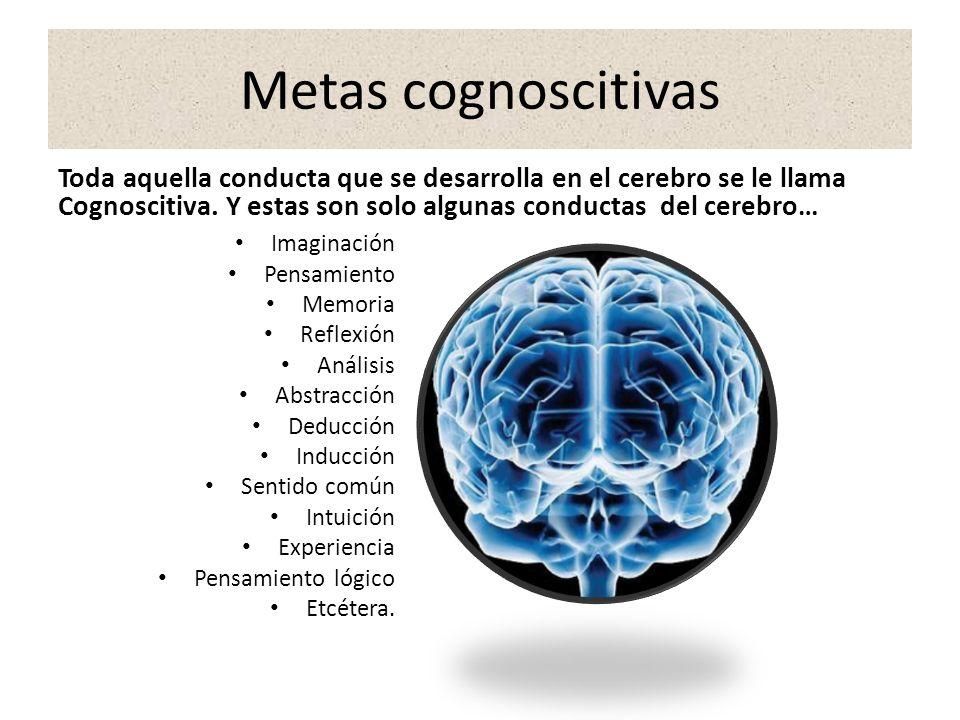 Metas cognoscitivas Toda aquella conducta que se desarrolla en el cerebro se le llama Cognoscitiva. Y estas son solo algunas conductas del cerebro…