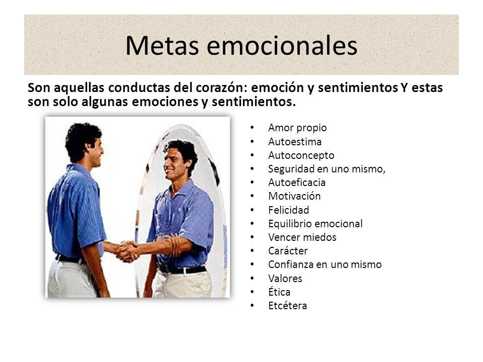Metas emocionales Son aquellas conductas del corazón: emoción y sentimientos Y estas son solo algunas emociones y sentimientos.