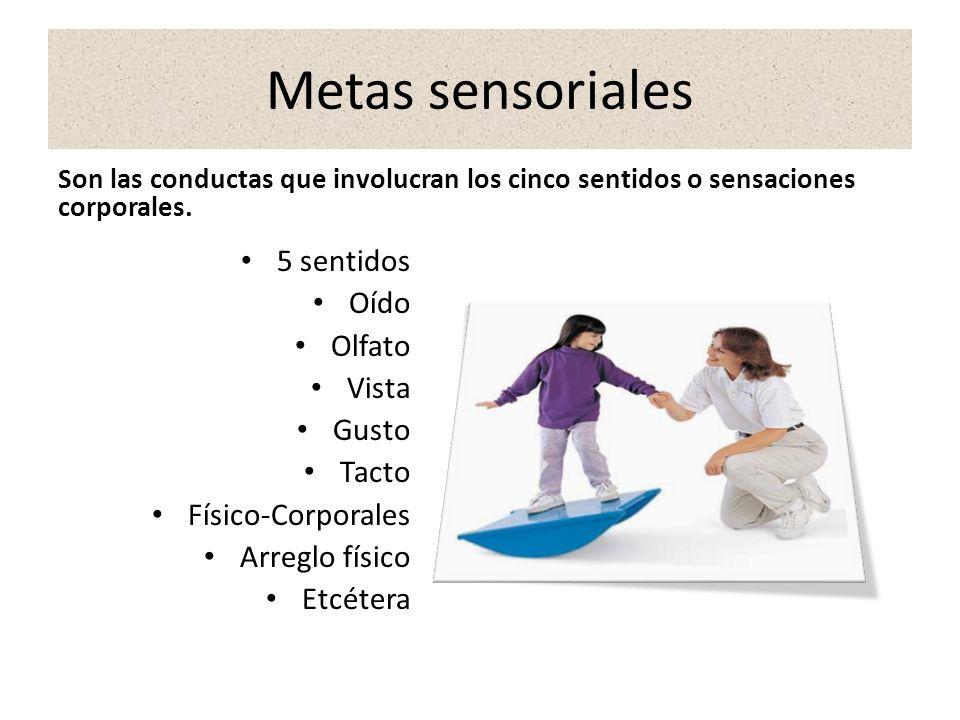 Metas sensoriales 5 sentidos Oído Olfato Vista Gusto Tacto