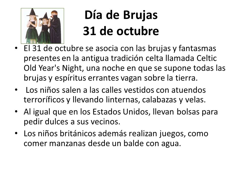 Día de Brujas 31 de octubre