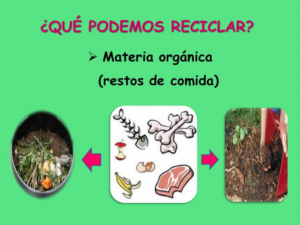 ¿QUÉ PODEMOS RECICLAR Materia orgánica (restos de comida)