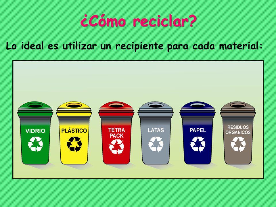 ¿Cómo reciclar Lo ideal es utilizar un recipiente para cada material:
