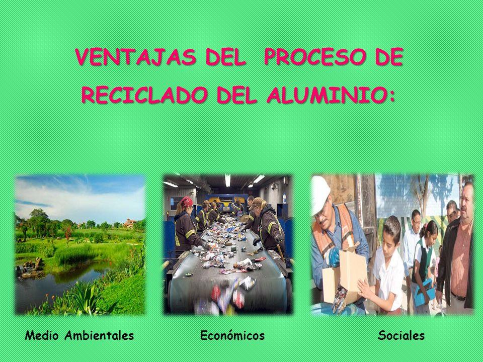 VENTAJAS DEL PROCESO DE RECICLADO DEL ALUMINIO: