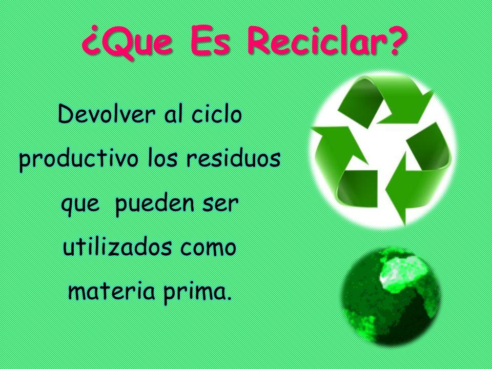 ¿Que Es Reciclar.