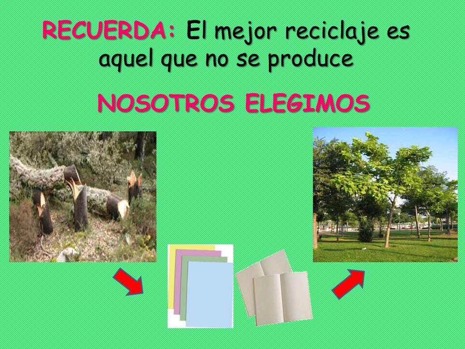 RECUERDA: El mejor reciclaje es aquel que no se produce
