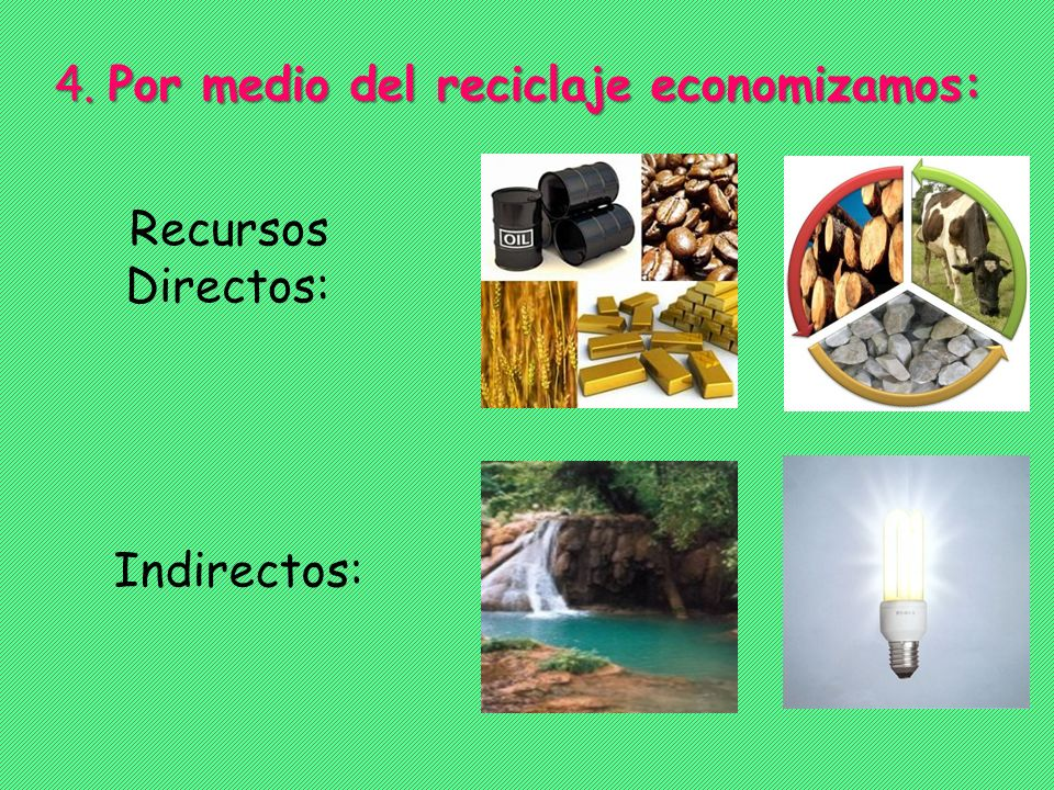 4. Por medio del reciclaje economizamos: