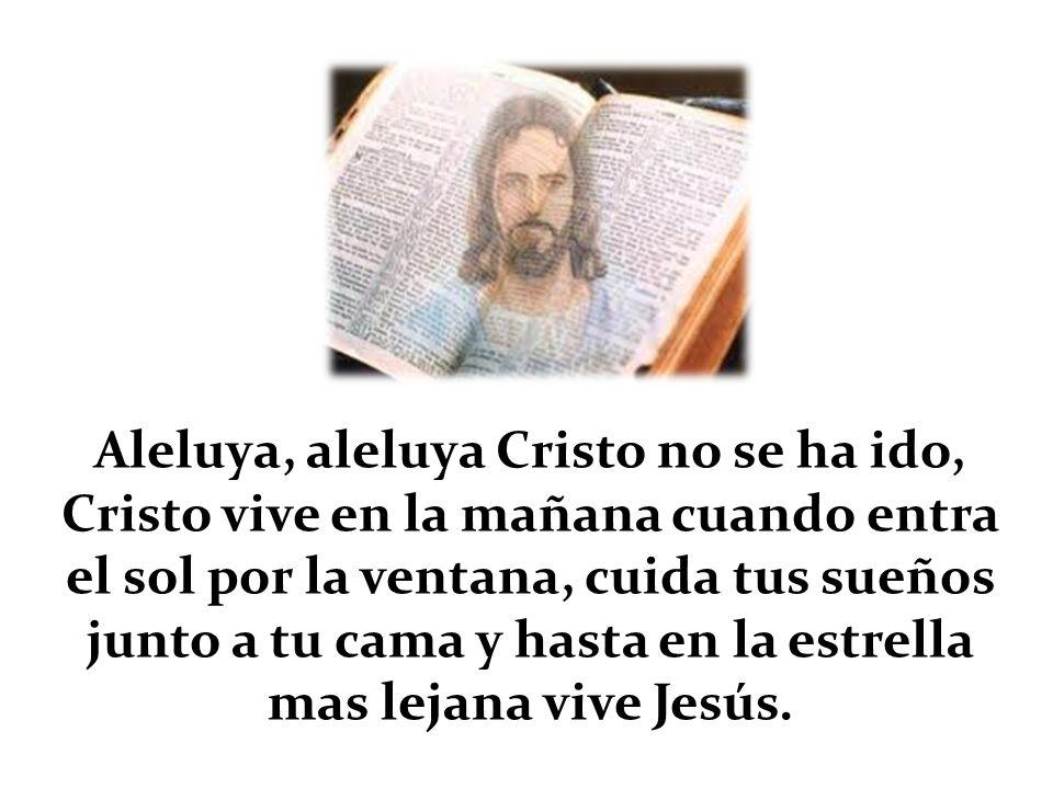 Aleluya, aleluya Cristo no se ha ido, Cristo vive en la mañana cuando entra el sol por la ventana, cuida tus sueños junto a tu cama y hasta en la estrella mas lejana vive Jesús.