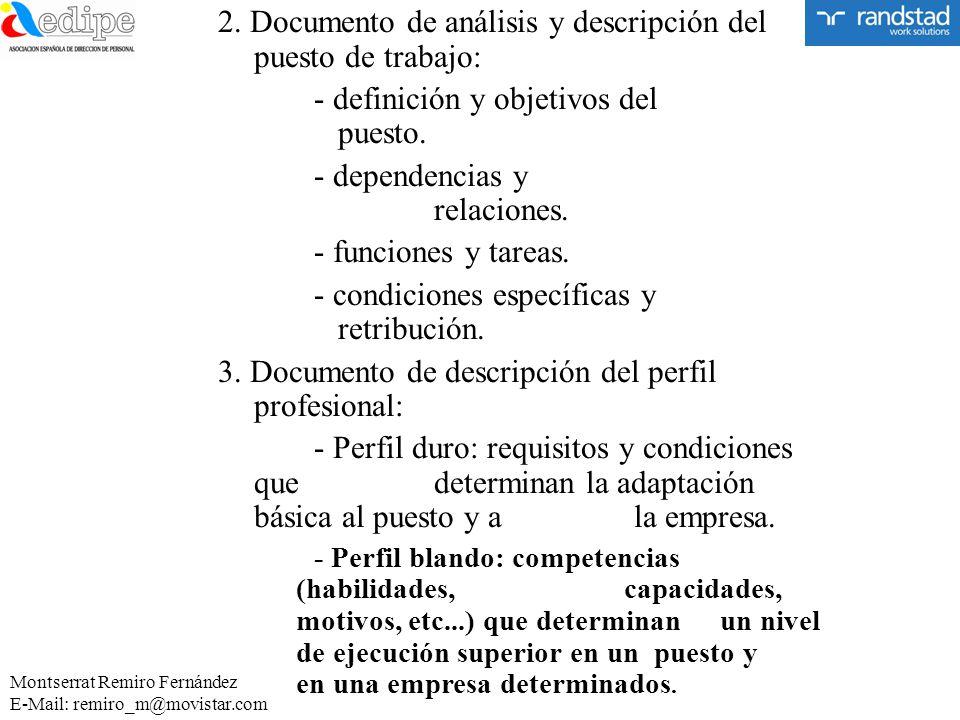 2. Documento de análisis y descripción del puesto de trabajo: