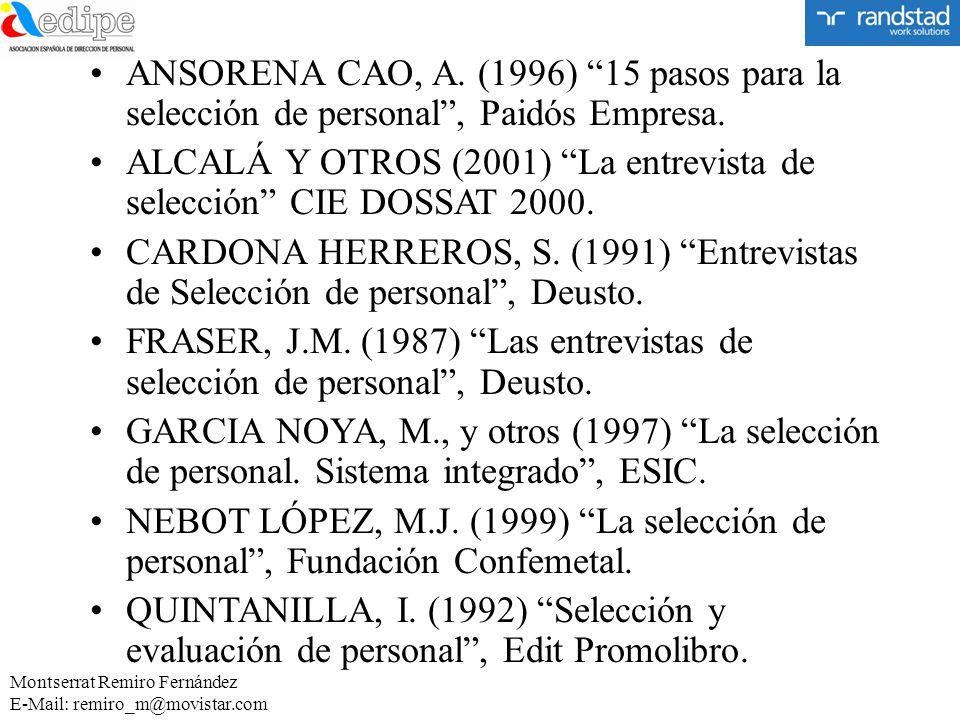 ALCALÁ Y OTROS (2001) La entrevista de selección CIE DOSSAT 2000.