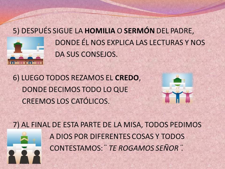 5) DESPUÉS SIGUE LA HOMILIA O SERMÓN DEL PADRE, DONDE ÉL NOS EXPLICA LAS LECTURAS Y NOS DA SUS CONSEJOS.