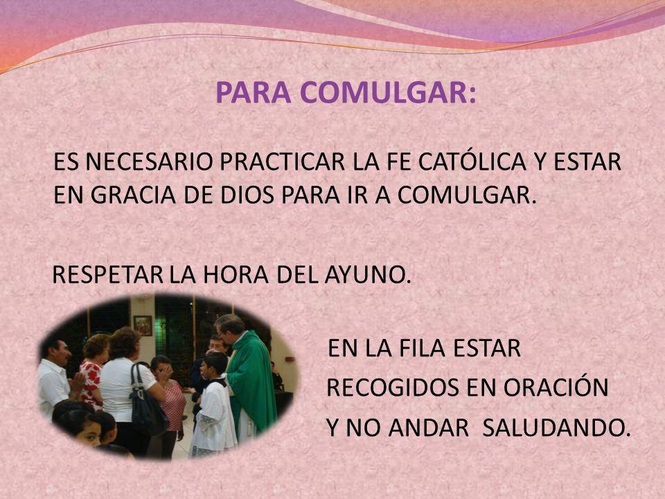 PARA COMULGAR: RESPETAR LA HORA DEL AYUNO. EN LA FILA ESTAR