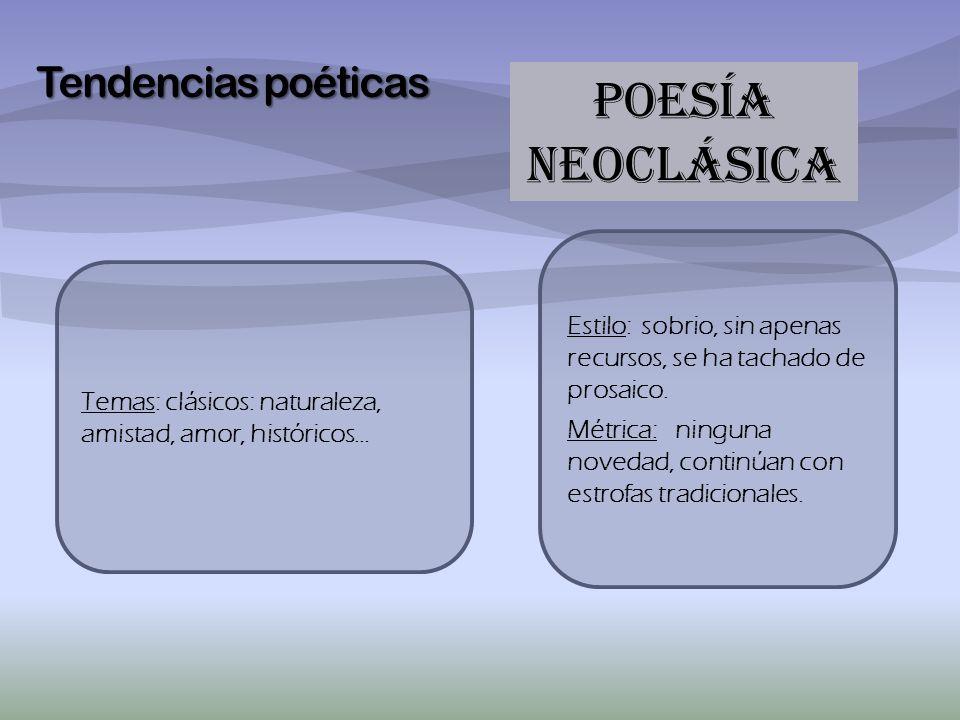 POESÍA NEOCLÁSICA Tendencias poéticas