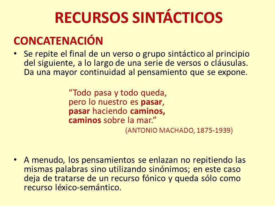 RECURSOS SINTÁCTICOS CONCATENACIÓN