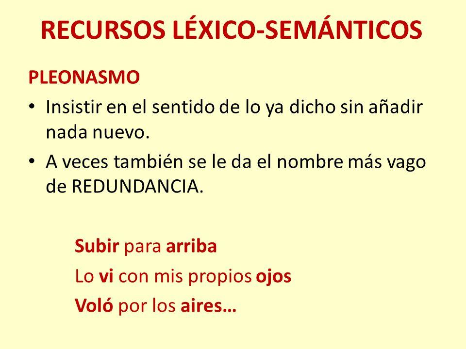 RECURSOS LÉXICO-SEMÁNTICOS